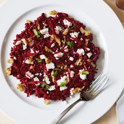 Beetroot risotto with goat's cheese & walnuts