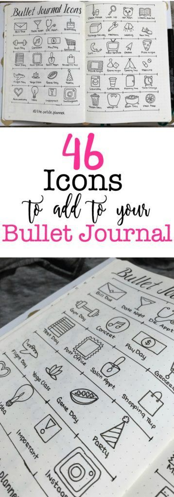 Creative Decoration: 46 Icons for your Bullet Journal. Bujo illustration Planner Spread drawing #bujoart give your bullet journal weeklies, dailies and monthlies some pizzazz