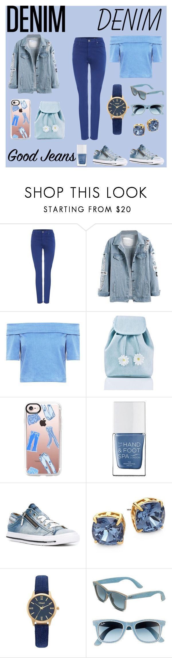 """""""A denim outfit : good jeans!!!!"""" by mariah9598 ❤ liked on Polyvore featuring AG Adriano Goldschmied, 3x1, Sugarbaby, Casetify, The Hand & Foot Spa, Diesel, Tory Burch, Vivani and Ray-Ban"""
