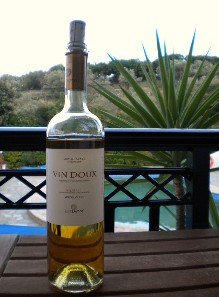 """Taste the famous muscat wine of Samos Island! It is produced from the grapes bearing the same name, the famous Samos Muscat Blanc à Petits Grains, cultivated on the slopes of Mount Ambelos, on the traditional island tiered terraces (""""pezoules"""") up to an altitude of 900 meters with every hectare carefully controlled for a low yield. #samos #wine #muscat #island #greece #vin_doux"""