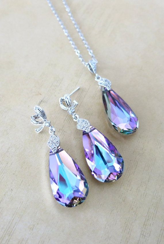 Jewelry Set - Swarovski Vitrail Light Purple Teardrop Crystal Necklace and Earrings, Cubic Zirconia Necklace, Bridal, Bridesmaids, www.glitzandlove.com