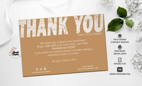Marble Thank You Card Business Customer Thank You Card Etsy Thank You Card Template Thank You Card Design Thank You Cards