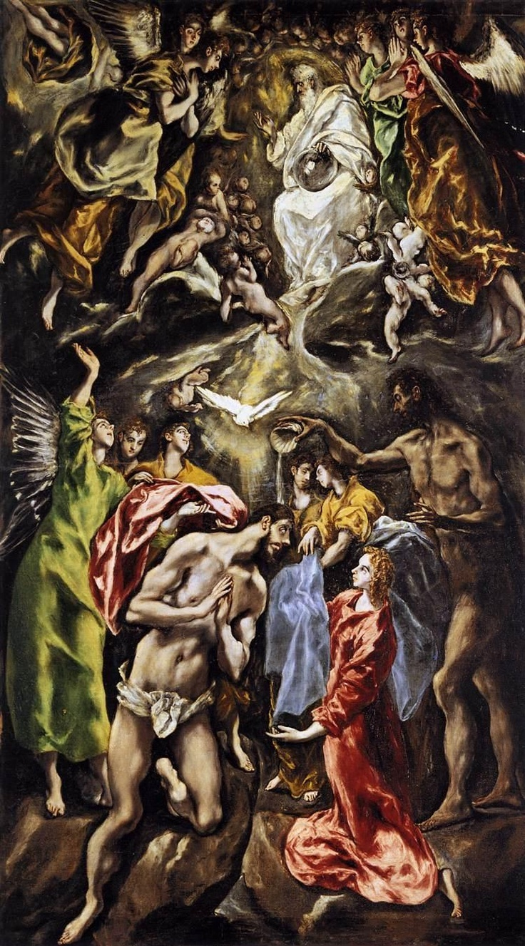 Baptism of Christ - El Greco. El Greco uses his customary language, with stylized forms and loose brushstrokes, obtaining an intensely spiritual expression. The work was painted for the main altarpiece of the church of the Augustine College of María de Aragón in Madrid