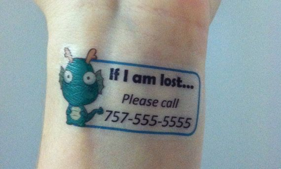 If lost... Custom Temporary Tattoos  Emergency Contact by Tatasaurus