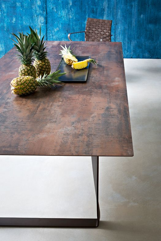 Roberti Hamptons Graphics Dining Table with HPL Corten finish