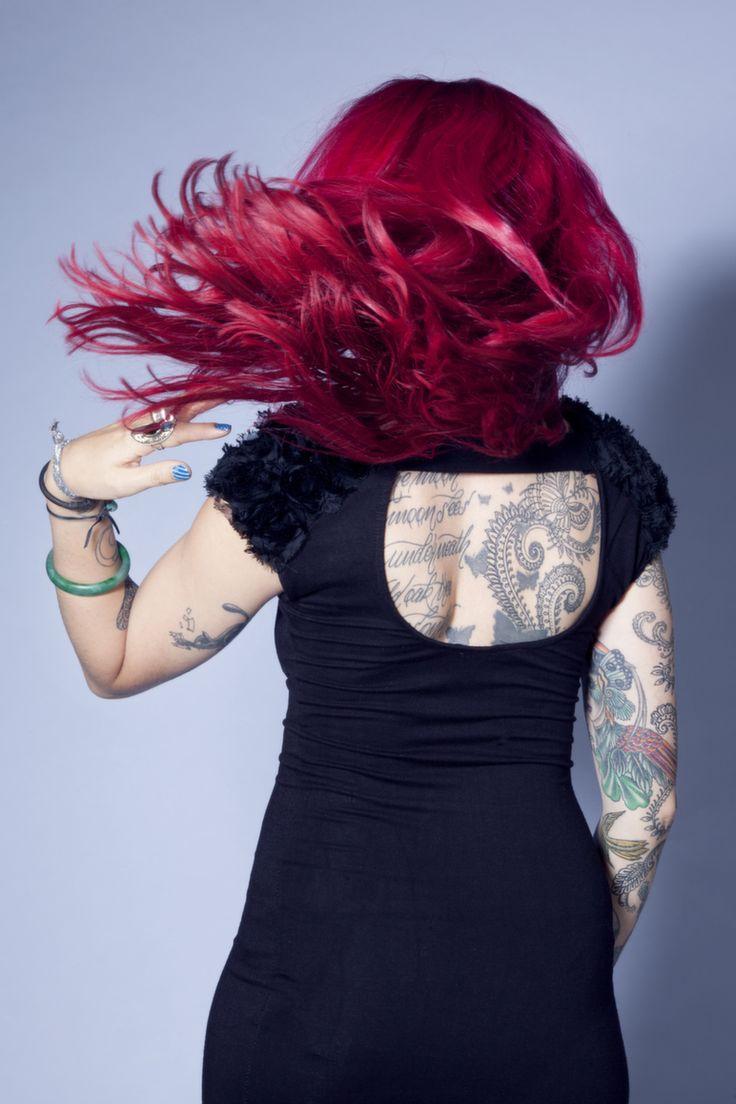 #hair #model #motion #blur #flick #studio  #canon #red #tattoos #LBD
