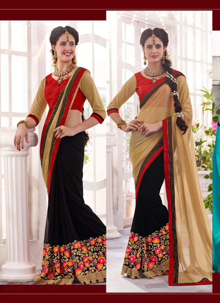 Black Wholesale Designer Saree Supplier From India