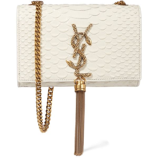 Saint Laurent Monogramme small snake-effect leather shoulder bag ($1,705) ❤ liked on Polyvore featuring bags, handbags, shoulder bags, clutches, saint laurent, white, chain shoulder bag, white purse, snakeskin purse and leather purse
