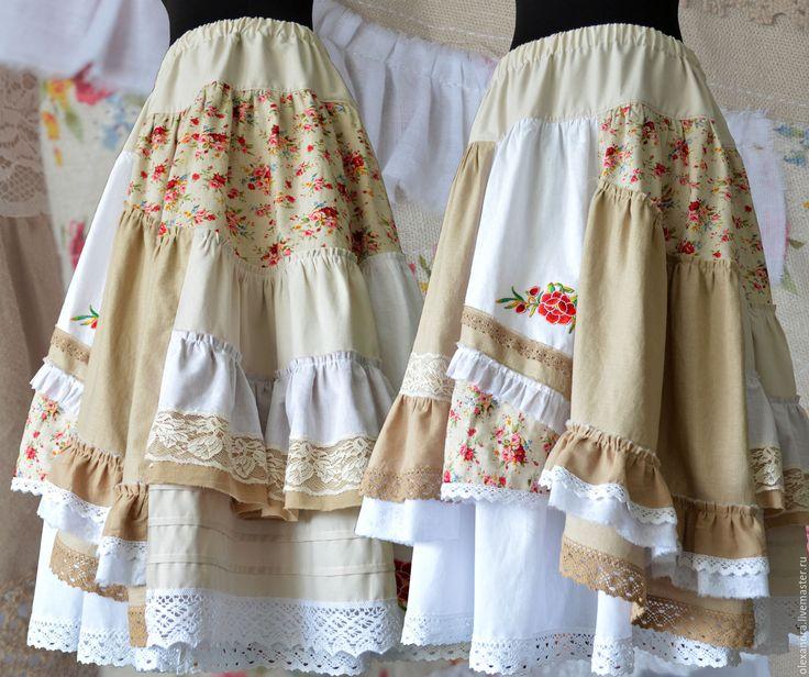 """Купить Юбка """"Прованс"""" - цветочный, бежевый, бохо юбка, бохо-стиль, длинная юбка"""
