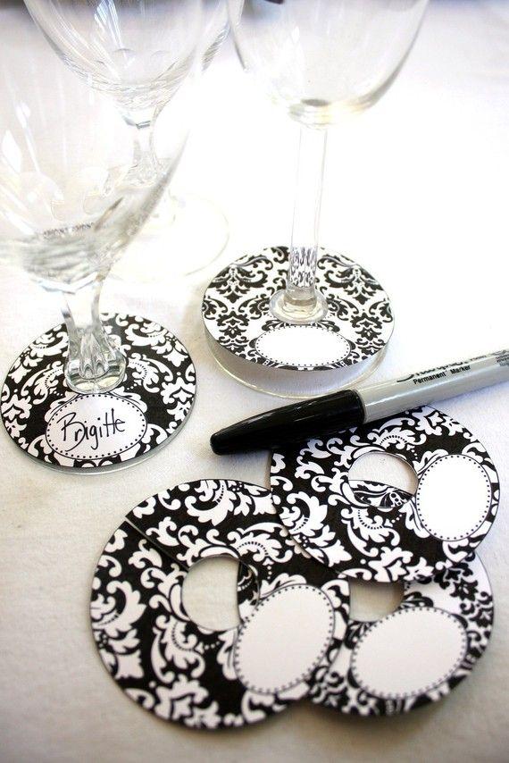 Damask Wine Glass Slipper Name Card Tag