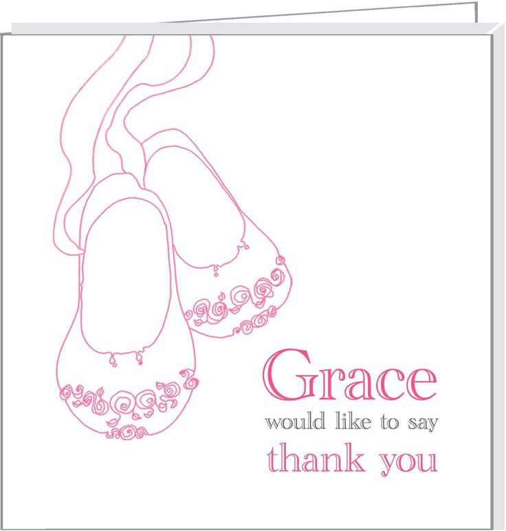 Personalised thank you cards with pink baby shoes