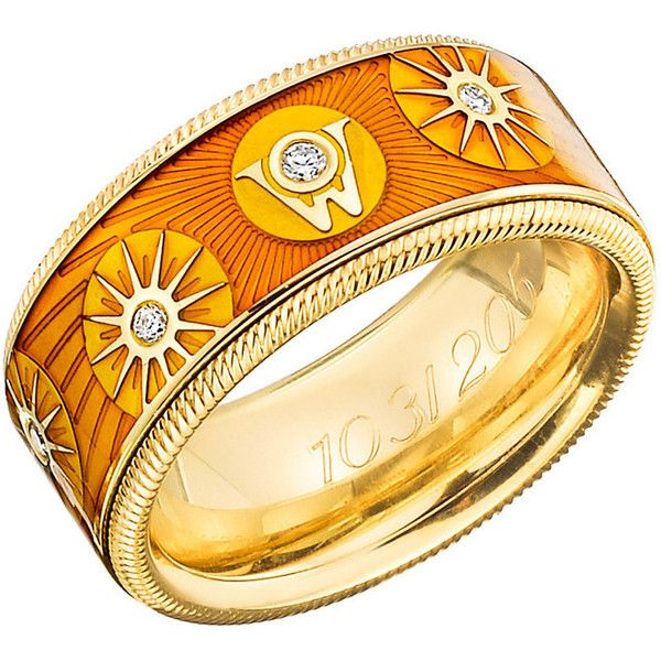 Wellendorff 2005 Ring of the Year | Betteridge ❤ liked on Polyvore featuring jewelry, rings, 18k ring, 18 karat gold ring, round cut rings, orange ring and band jewelry