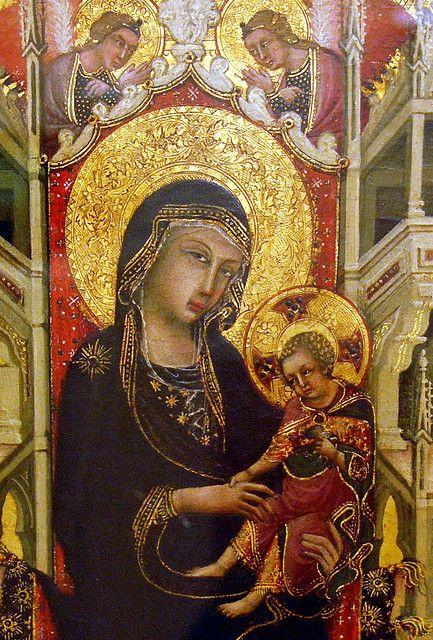 Ignoto Pittore Senese - Madonna in trono col Bambino tra le Sante Caterina d'Alessandria e Margherita e Angeli (dettaglio) - 1325-1350 - Museo Bandini, Fiesole