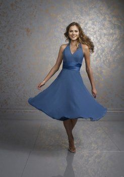 bleu de demoiselle d'honneur robe
