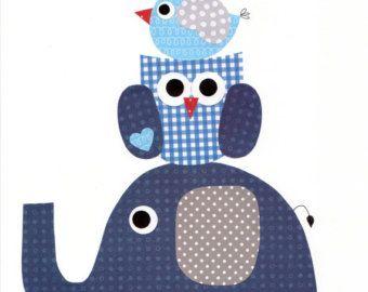 Azul elefante bebé vivero arte bebé niños por 3000yardsofthread