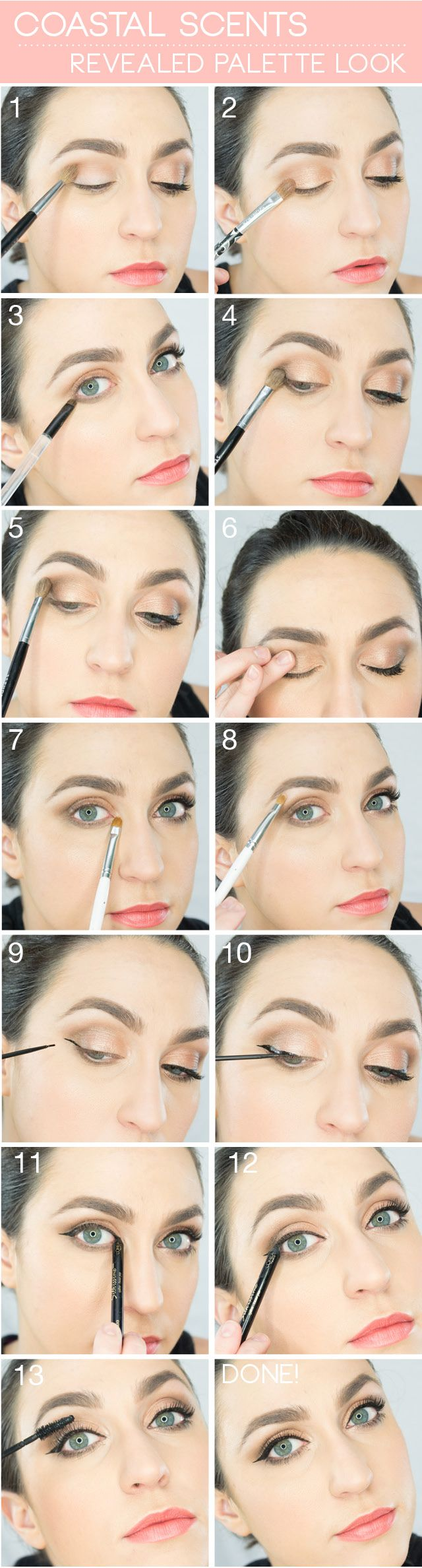 Natural glam look with Coastal Scents Revealed Palette. Wake Up For Makeup