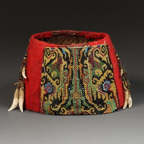 Aristocratic Woman's Ceremonial Hat Kayan people, East Kalimantan (Borneo) Rattan, beading, cloth, teeth