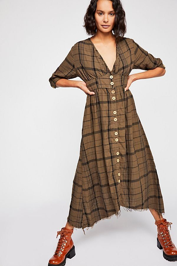 34bd77459c Laura Plaid Midi Dress - Long Sleeve Bronze Plaid Midi Dress with  Distressed Hem and Front Buttons