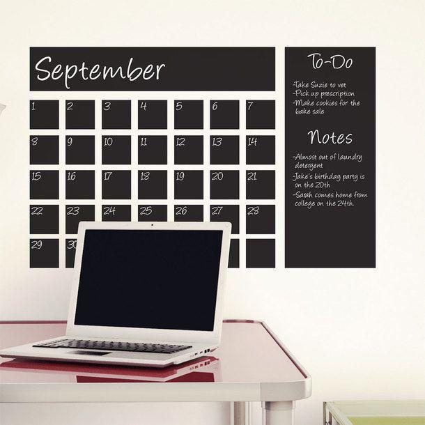 Chalkboard Calendar Decal Black. Man I need this
