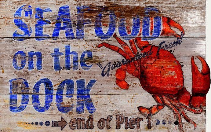 Seafood on the Dock - Vintage Beach Sign: Beach Decor, Coastal ...