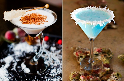 COCO SNOWBALL: The white coconut around the rim and the light blue color of the drink gives you that wintry feel..    SUGAR PLUM MARTINI: Based on the flavors of Starbucks' gingerbread latte, the drinks gets a zesty boost from ginger beer, it makes a huge difference flavor-wise over ginger ale.