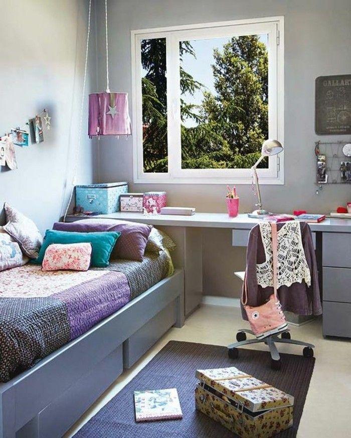 chambre ado fille en gris tapis en gris fonc grande fenetre avec vue et