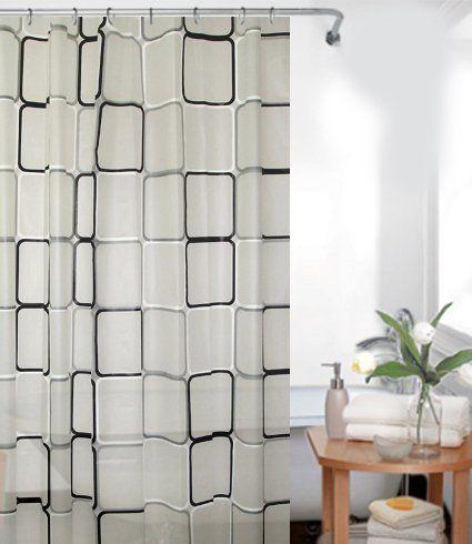 PEVA rideau de douche 120 x 180 cm QUADRO blanche grise noir bagues inclue 120x180 EXTRA étroit - extra court!: Amazon.fr: Cuisine & Maison
