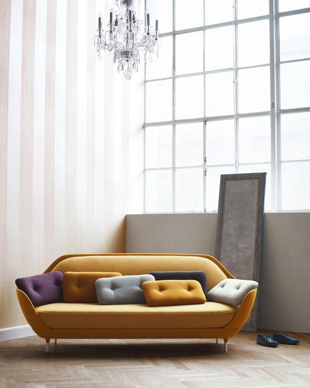 retro sofa and glam chandelier