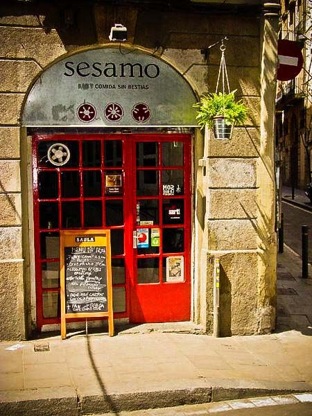 Restaurante Sesamo in Barcelona. If you're looking for vegetarian tapas, this is the place to go.