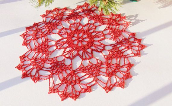 Gold Red Lace Doily Crochet Medium Metallic Doilies by MaddaKnits