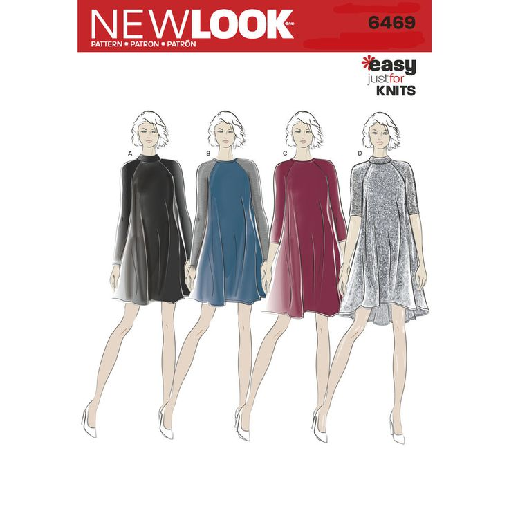 Misses' knit dresses with raglan sleeve can be mini length with round neckline and contrast sleeves, or high neck in one fabric, above the knee with long sleeves, and high-low with high neckline and half sleeves. New Look sewing pattern.