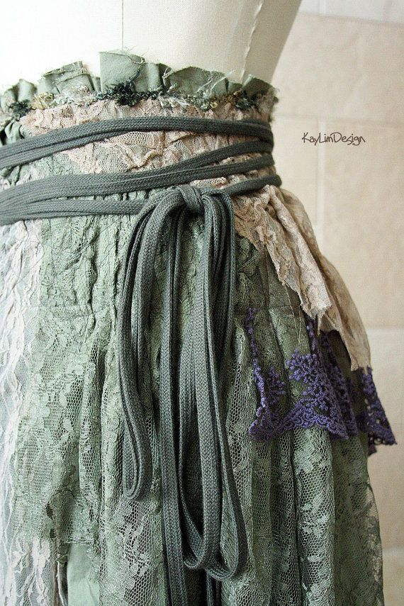 One of a kind bohemian hobo-chic tattered skirt / lace by KayLim