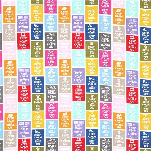 Timeless Treasures Keep calm sewing phrases fabric - Retro Fabric - Fabric - kawaii shop modeS4u