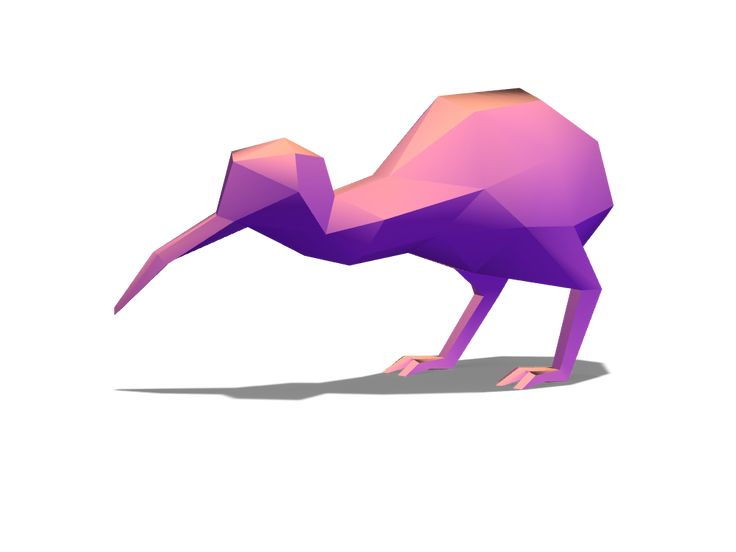 Lowpoly kiwi - a 3D model created with VECTARY - the free online 3D modeling tool #3Dprinting