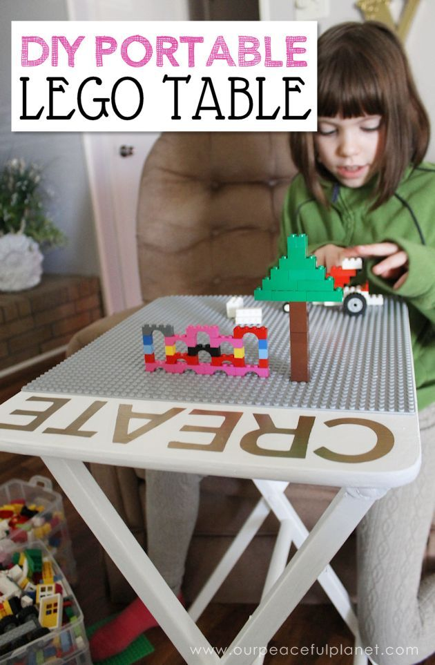Love Lego? Make this easy portable DIY Lego table from an old TV stand. You can even have it match your decor. A Lego mat, paint, glue and stickers. Voila!