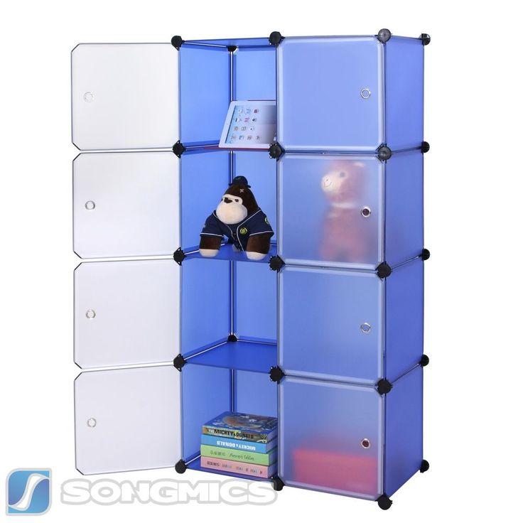 Elegant Regal Schrank Garderobeschrank Kleiderschrank Standregal Wohnzimmer Blau LPCQ