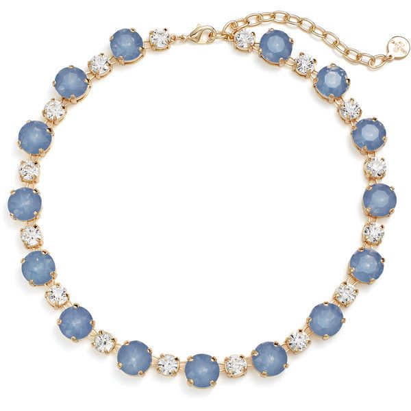 Rental RJ Graziano Blue Dot Necklace ($10) ❤ liked on Polyvore featuring jewelry, necklaces, long blue necklace, long necklace, r.j. graziano, dot jewelry and r j graziano necklace