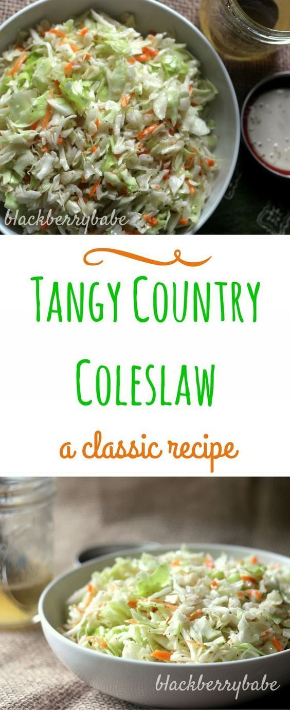 Classic Country Cole Slaw | Cabbage slaw with a tangy and sweet vinegar based dressing, no mayo! | recipe by blackberrybabe.com