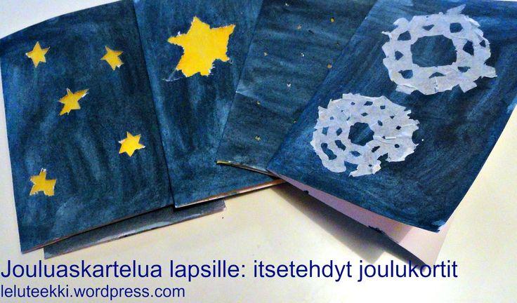 Jouluaskartelua lapsille: itsetehdyt joulukortit http://blogi.leluteekki.fi