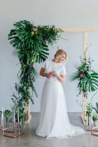 Greenery and Copper Wedding arch + ceremony decor ideas