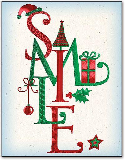 Smile Christmas Items 4-up Laser Card   SmartPractice Dental