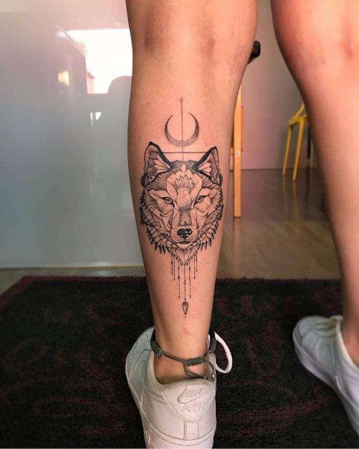 Pin by Luana Francelino on tattoos | Wolf tattoos for women, Calf tattoos for women, Leg tattoos