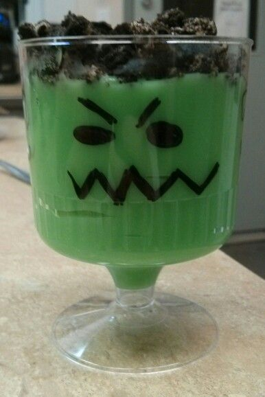 """Franken cups""  vanilla pudding with green food colouring and crushed oreos on top;)"