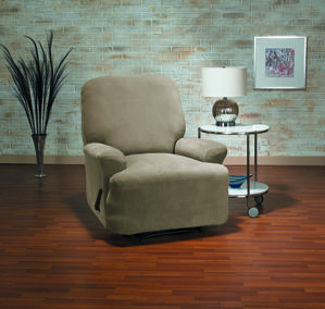 Eastwood Mink Recliner Slipcover. Plush velvety surface uphostery, form fit slip cover design, living room, beautiful interior design, chic home decor