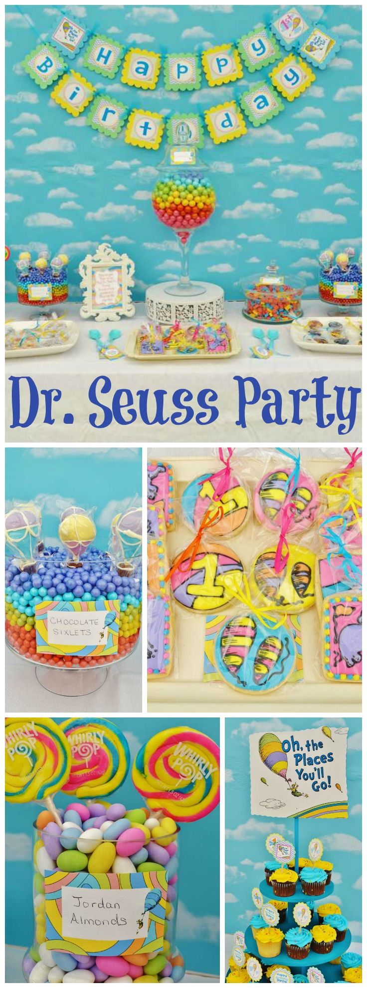 "Check out this Dr. Seuss ""Oh, the Places You'll Go"" first birthday party! See more party ideas at CatchMyParty.com!"
