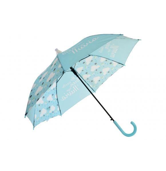 """Paraguas con apertura automática y funda antigoteo. Tejido en color azul cielo decorado con nubes y arcoiris y una frase original """"me siento bien bajo la lluvia"""".  Este paraguas con empuñadura curva y estructura metálica es ideal para los días de lluvia.  Las medidas de este paraguas son 85 cms de altura y 95 cms de diámetro."""