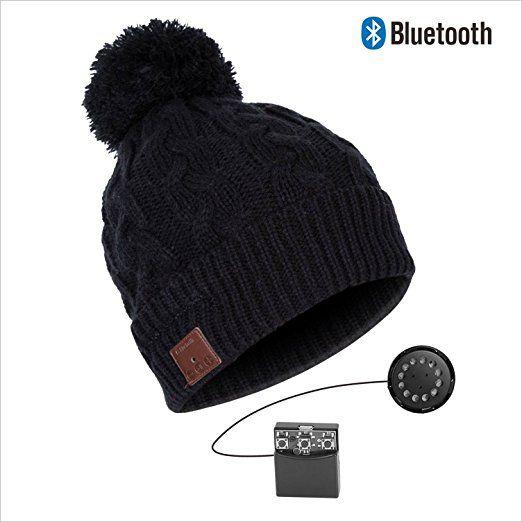 Original Urcover Bluetooth Mütze mit integrierten Stereo Kopfhörer und Akku, 5 h Musik, Winter Beanie mit Bluetooth, Mikrofon - Verbindet Smartphones, Tablets, iPhone, Handy SKH033B Schwarz