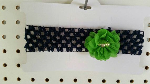 Check out Apple Green Flower - Navy Headband - Girls Headbands - Stretchy Headband - Flower Headband - Baby Shower Gift - Baby Girls - Baby Headbands on sweetbabycakesbows