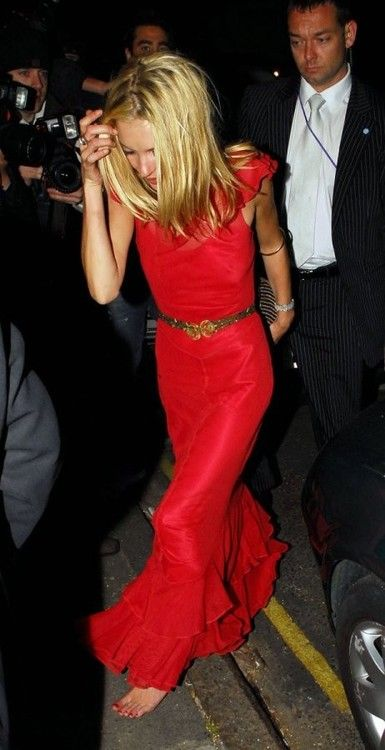 Kate Moss in red maxi dress.