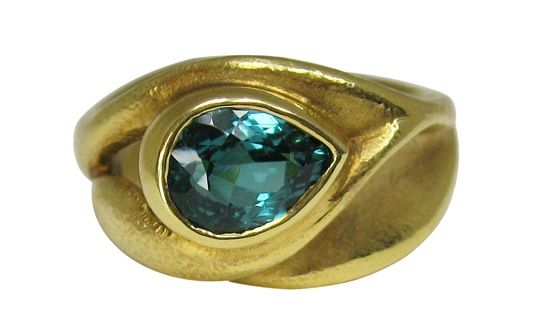 18k yellow gold with blue/green tourmaline by Hanna Cook-Wallace.